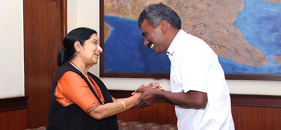 External Affairs Minister welcomes back Father Alexis Premkumar Antonysamy on his return to India after eight months captivity in Afghanistan