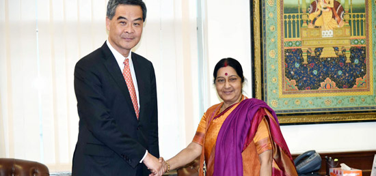 External Affairs Minister meets Leung Chun-ying, Chief Executive of Hong Kong Special Administrative Region in New Delhi