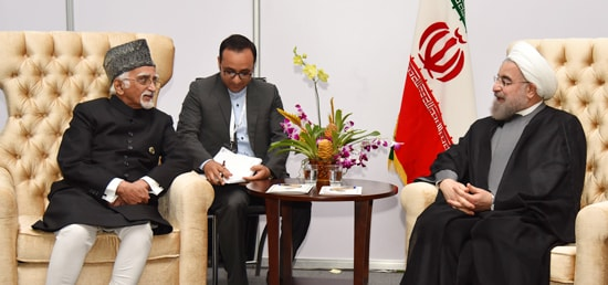 Vice President calls on Hassan Rouhani, President of Iran on the sidelines of the 17th NAM Summit in Margarita