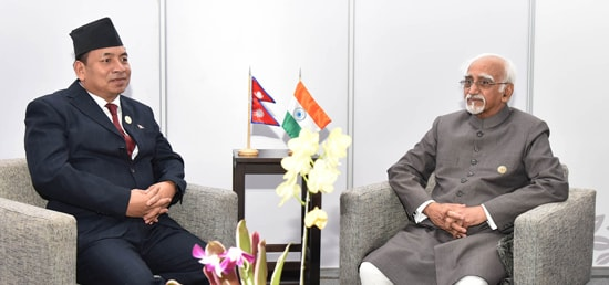 Vice President meets Nanda Kishor Pun, Vice President of Nepal on the sidelines of the 17th NAM Summit in Margarita