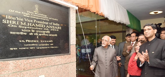 The Vice President, Shri M. Hamid Ansari inaugurating the New Building of the High Commission of India in Abuja, Nigeria.