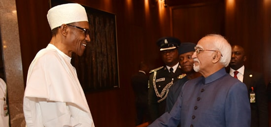 The Vice President, Shri M. Hamid Ansari calling on the President of Nigeria, Mr. Muhammadu Buhari, at the State House, in Abuja, Nigeria