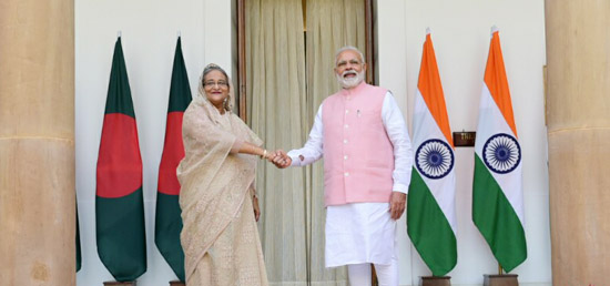 Prime Minister meets Sheikh Hasina, Prime Minister of Bangladesh at Hyderabad House during her State Visit to India