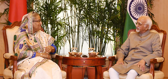 Sheikh Hasina, Prime Minister of Bangladesh calls on Vice President in New Delhi during her four-day State Visit to India