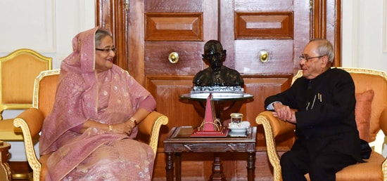 Sheikh Hasina, Prime Minister of Bangladesh calls on President in Rashtrapati Bhawan during her State Visit to India