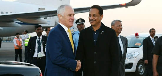 Malcolm Turnbull, Prime Minister of Australia arrives in New Delhi on his State Visit to India