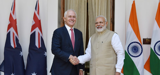 Prime Minister meets Malcolm Turnbull, Prime Minister of Australia at Hyderabad House in New Delhi