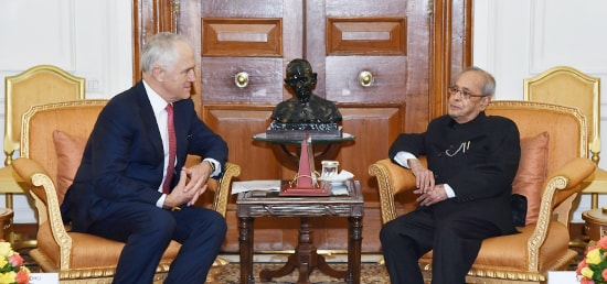 Malcolm Turnbull, Prime Minister of Australia calls on President at Rashtrapati Bhawan during his State visit to India
