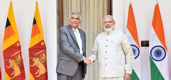 ​Prime Minister meets Ranil Wickremesinghe​, ​Prime Minister of Sri Lanka​ ​at Hyderabad House during h​is Visit to India​ ​