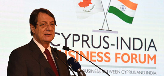 Nicos Anastasiades, President of Cyprus delivers his address at Cyprus-India Business Forum​ in Mumbai, during his State visit to India