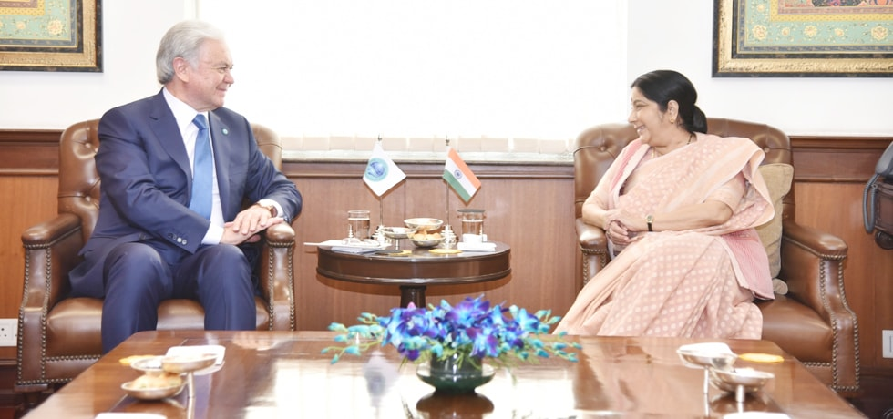 External Affairs Minister meets H.E. Rashid Kutbiddinovitch Alimov, Secretary General of Shanghai Cooperation Organisation in New Delhi