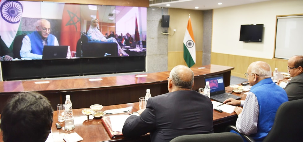 Minister of State for External Affairs in a video conference with Rakiya Eddarhem, Secretary of State to the Minister of Industry, Investment, Trade and Digital Economy, in charge of Foreign Trade, Morocco