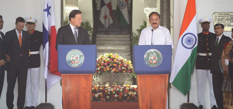 Vice President and Juan Carlos Varela Rodriguez, President of Panama deliver Joint Press Statement in Panama