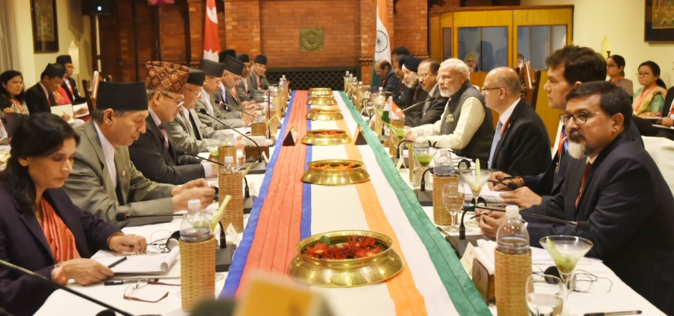 Prime Minister and K.P. Sharma Oli, Prime Minister of Nepal at the delegation level talks in Kathmandu