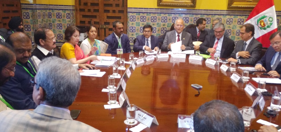 Vice President heads the delegation level talks in Lima, Peru during his visit to Peru